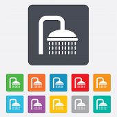 stock photo of douche  - Shower with water drops sign icon - JPG