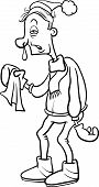 image of snot  - Black and White Cartoon Humorous Illustration of a Man with a Flu and Running Nose for Coloring Book - JPG