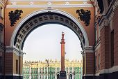 picture of winter palace  - Winter Palace view through Senate Arch at dawn St Petersburg Russia - JPG