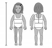 pic of one piece swimsuit  - Full length front back side view of a standing girl preschooler tailor measurements in swimsuit. You can use this image for fashion design and etc.