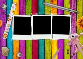 image of girlie  - Three blank photos on a bright girlie background - JPG