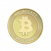 Постер, плакат: We accept bitcoins Golden bitcoin virtual currency Vector illustration