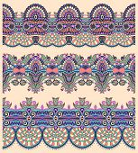 picture of tribal  - seamless ethnic floral paisley stripe pattern - JPG