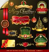 stock photo of christmas wreath  - Christmas vector frames and ornamental labels set - JPG