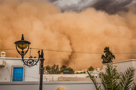 stock photo of sandstorms  - Sandstorm in the city in the background GafsaTunisia Africa