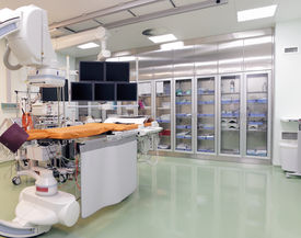 stock photo of stent  - X-ray operating laboratory (room) with high-tech equipment in anticipation of the patient