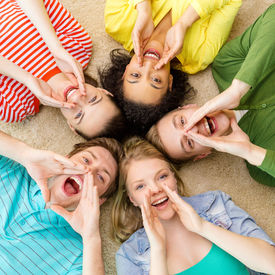 stock photo of shout  - education and happiness concept  - JPG