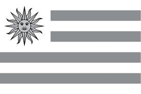 picture of grayscale  - An Illustrated grayscale flag of the country of Uruguay - JPG