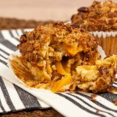 picture of pecan  - Crunchy Granola Peach Muffins with Butter Pecan Toppings - JPG