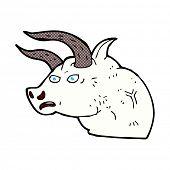 picture of bull head  - retro comic book style cartoon angry bull head - JPG
