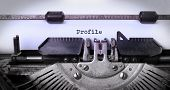 stock photo of typewriter  - Vintage inscription made by old typewriter profile - JPG
