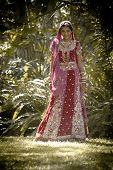 pic of indian beautiful people  - Young beautiful Hindu Indian bride in traditional gown outdoors in garden