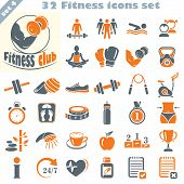 stock photo of body fat  - Fitness icons set vector set of 32 fitness signs - JPG