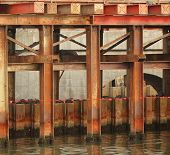 stock photo of girder  - Bridge construction detail with massive steel girders anchored in the ground - JPG