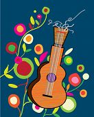 stock photo of woodstock  - Musical background wtih guitar and flower  - JPG