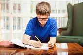 stock photo of homework  - Little white boy focused on doing his homework in the living room  - JPG