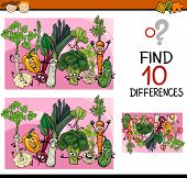 picture of differences  - Cartoon Illustration of Finding Differences Educational Game for Preschool Children - JPG
