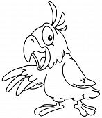picture of presenting  - Outlined Cartoon parrot presenting with his wing - JPG