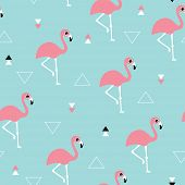 stock photo of pastel  - Seamless kids soft pastel blue ocean and pink summer flamingo and geometric details background pattern in vector - JPG