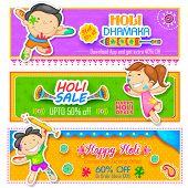 foto of holi  - illustration of kids playing Holi with color and pichkari - JPG