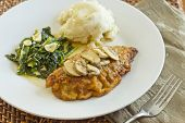 picture of marsala  - Crispy breaded chicken marsala with mashed potatoes and broccoli rabe with garlic - JPG