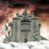 pic of warlock  - Fantasy castle over the clouds - JPG