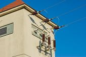 foto of substation  - Shot on voltage substation and wires with blue sky - JPG