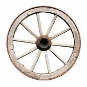 image of wagon wheel  - Old Traditional Wooden Wheel Isolated on White Background - JPG