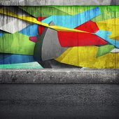 picture of fragmentation  - Abstract 3d graffiti fragment on the concrete wall - JPG