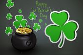 image of backround  - happy st patricks day against shamrocks on grey backround - JPG