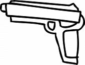 picture of pistols  - One outlined hand drawn pistol gun over white - JPG