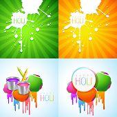 stock photo of holi  - vector collection of colorful holi design with colorful holi splash and pichkari - JPG