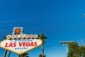 stock photo of las vegas casino  - Famous Las Vegas sign on bright sunny day - JPG