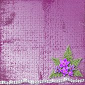 foto of mother-of-pearl  - Greeting card with beautiful branch orchid and pearls for a wedding or birthday - JPG