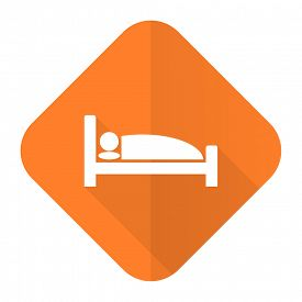 stock photo of flat-bed  - hotel orange flat icon bed sign  - JPG