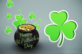 image of st patty  - happy st patricks day against green shamrocks on grey background - JPG