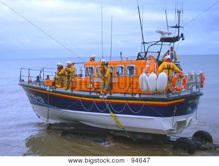 Picture or Photo of Lifeboat in yorkshire england being launched
