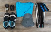 image of board-walk  - Basic gear mostly blue color coordination for outdoor walking on rustic wooden boards - JPG