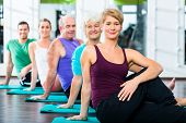 Group of senior people and young woman and men in fitness gym doing sit-ups on the floor poster