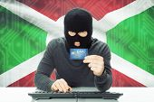 foto of burundi  - Cybercrime concept with flag on background  - JPG