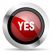 picture of yes  - yes red glossy web icon original modern design for web and mobile app on white background  - JPG