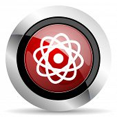 stock photo of atomizer  - atom red glossy web icon original modern design for web and mobile app on white background  - JPG
