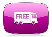 pic of free-trade  - free delivery violet icon transport sign original modern design for web and mobile app on white background with reflection  - JPG