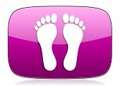 picture of webbed feet white  - foot violet icon  original modern design for web and mobile app on white background with reflection  - JPG