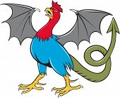 stock photo of snake-head  - Illustration of a basilisk an animal with the head torso and legs of a rooster the tongue of a snake the wings of a bat and with a snake - JPG
