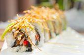 foto of sushi  - fresh made Japanese sushi rolls called Maki Sushi - JPG