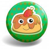 stock photo of custard  - Green circular badge with a strawberry custard cake on it - JPG