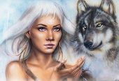 foto of face painting  - woman portrait with ornament tattoo on face with spiritual wolf and feathers jewelry - JPG