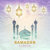 stock photo of ramadan calligraphy  - traditional lantern of Ramadan - JPG