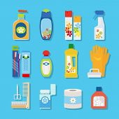 picture of toothpaste  - Vector hygiene and cleaning products flat icons - JPG